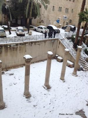 Snow in Jerusalem streets